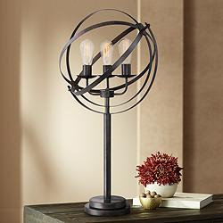Lite Source Orbiton Black 3-Light Metal Table Lamp