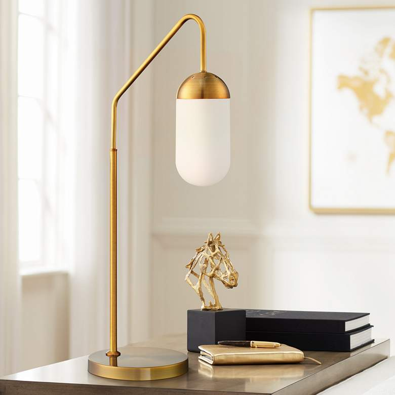 Lite Source Firefly Antique Brass Downbridge Desk Lamp
