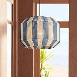 "Mitzi Kenzie 14 1/4"" Wide Blue and Cream Yarn Pendant Light"