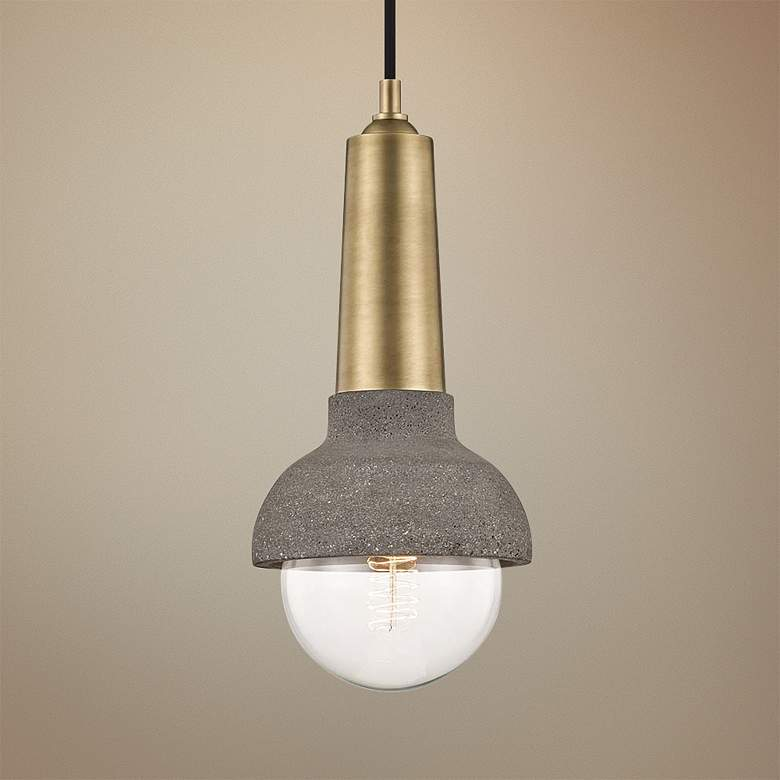 "Mitzi Macy 6"" Wide Aged Brass and Concrete Mini Pendant"