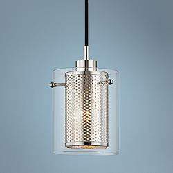 "Mitzi Elanor 5 1/2""W Polished Nickel w/ Glass Mini Pendant"