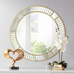 "Possini Euro Tevin 33"" Round Gold Deco Cut Wall Mirror"