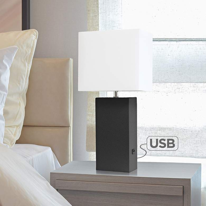 Elegant Designs Black Leather Accent Table Lamp with