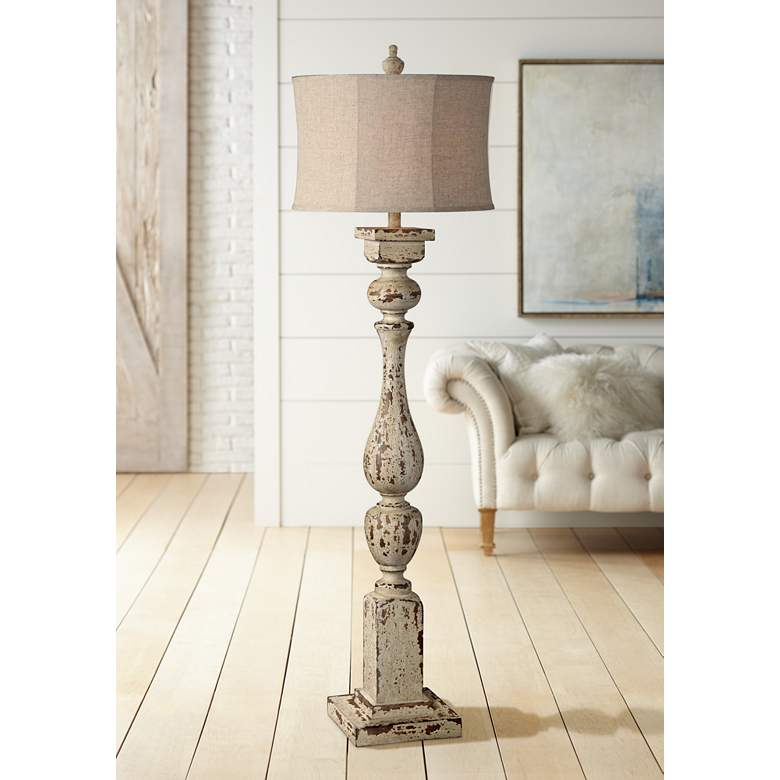 Forty West Anderson Rustic White Column Floor Lamp