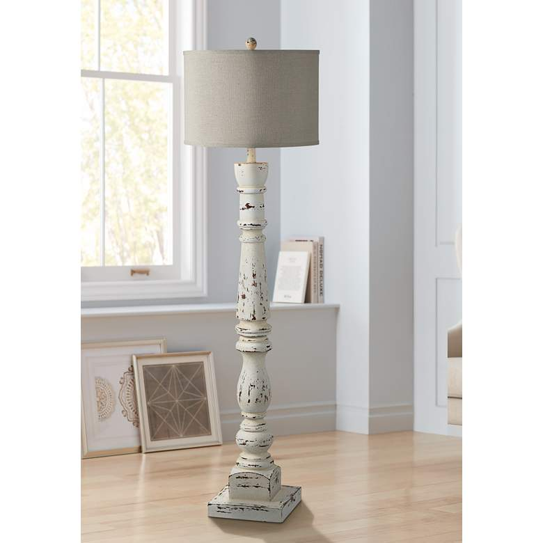 Forty West Anna Cottage White Column Floor Lamp