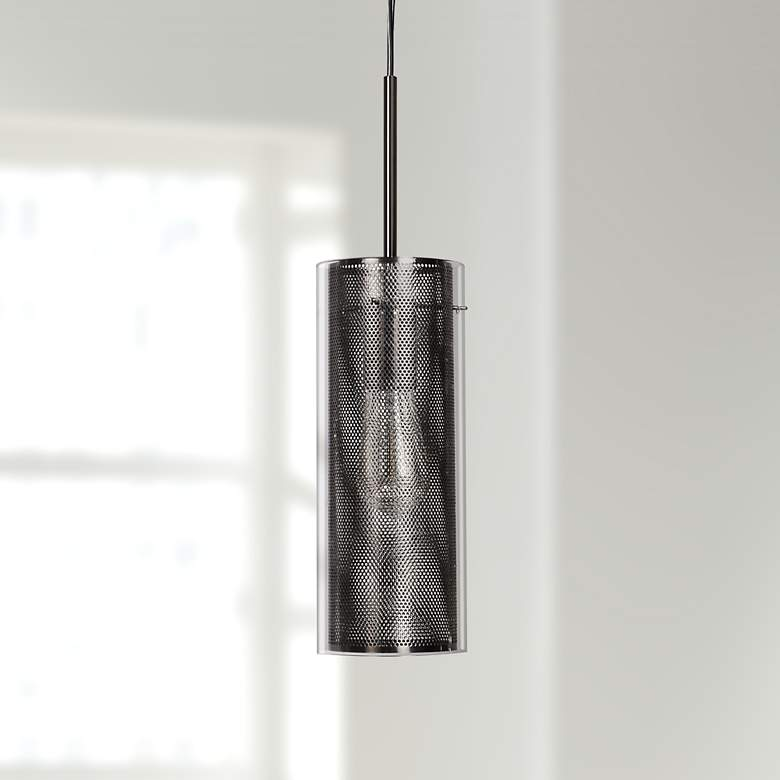 "Multis 5""W Black Polished Nickel and Glass LED Mini Pendant"