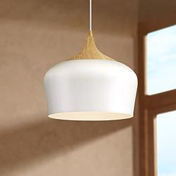 "Blend 11 3/4"" Wide White Metal LED Mini Pendant"