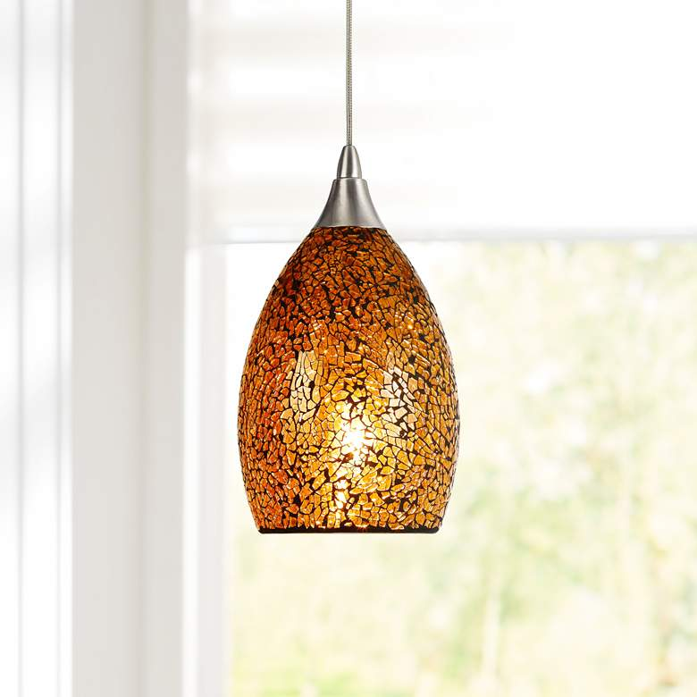 "Amber Glass 4 1/2""W Brushed Steel Low Voltage Mini Pendant"