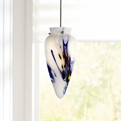 "Multi-Color Glass 3 1/4"" Wide Steel Low Voltage Mini Pendant"