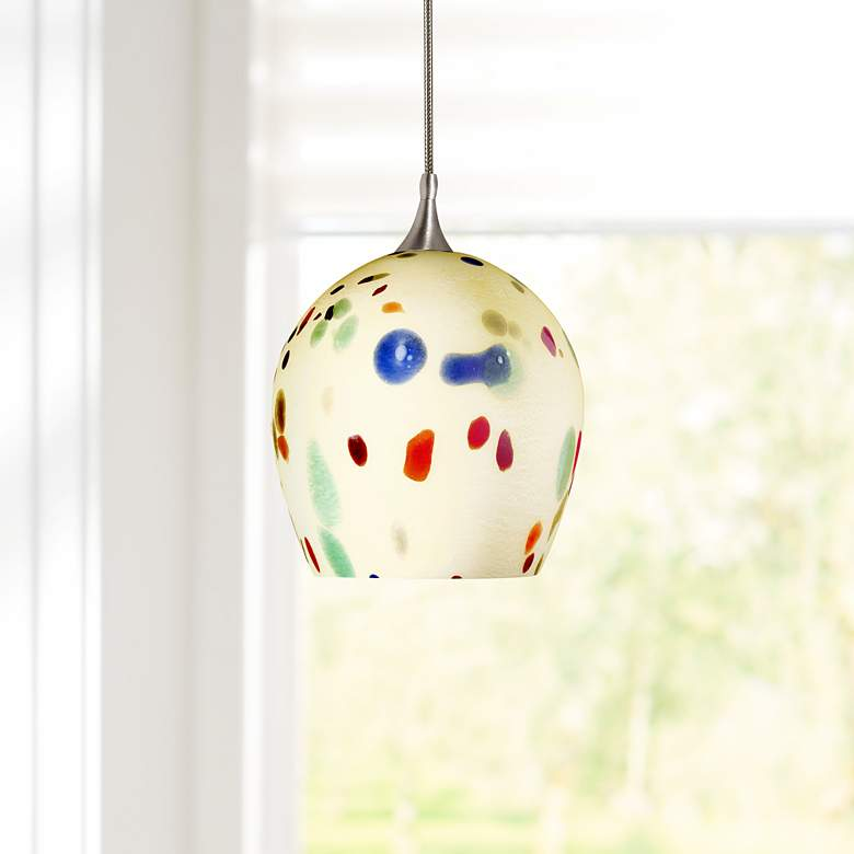 "Multi-Color Glass 5""W Brushed Steel Low Voltage Mini Pendant"