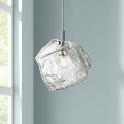 "Boulder 6 3/4""W Polished Nickel and Glass LED Mini Pendant"
