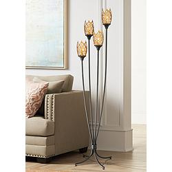 Ballantine Black and Antique Gold Flower 4-Light Floor Lamp