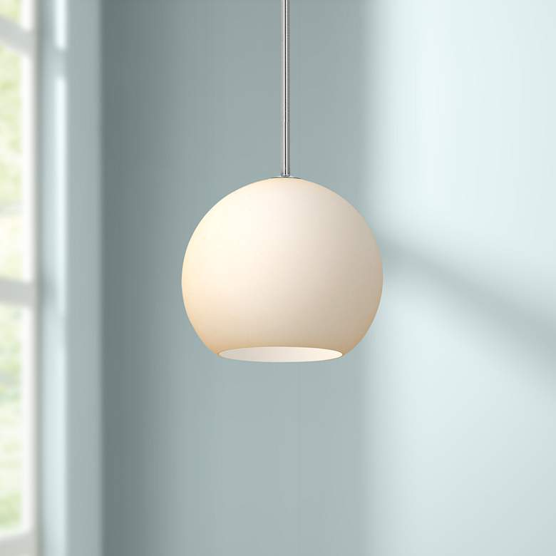 "Nitrogen 9"" Wide Brushed Nickel and Glass LED Mini Pendant"