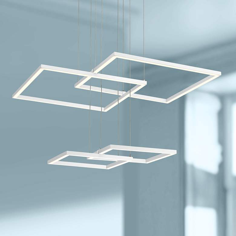 "Squared 30 1/4"" Wide White LED Pendant Light"