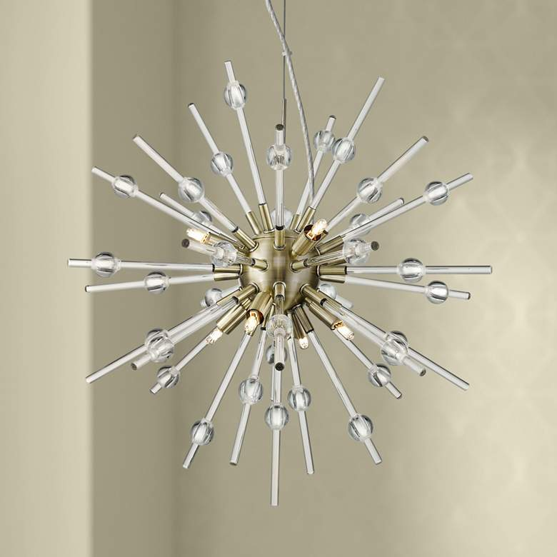 "Burst 21 1/4"" Wide Antique Bronze LED Sputnik"