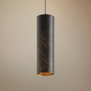 "Ash 3 1/2"" Wide Black and Gold Cylinder LED Mini Pendant"