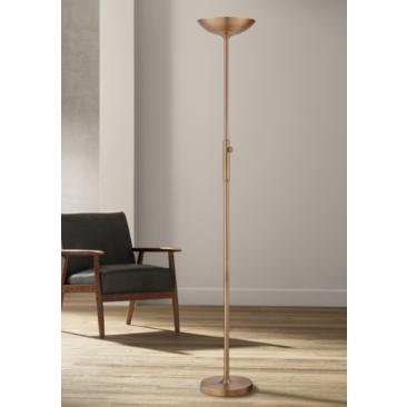 Lite Source Lemuel II Antique Brass LED Torchiere Floor Lamp