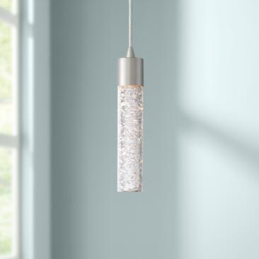 "Shimmer 2"" Wide Brushed Nickel and Glass LED Mini Pendant"