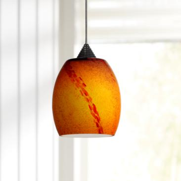 "Amber with Orange Pattern 3 3/4"" Wide Rust LED Mini Pendant"