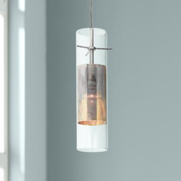 "Spartan 3"" Wide Brushed Nickel and Glass LED Mini Pendant"