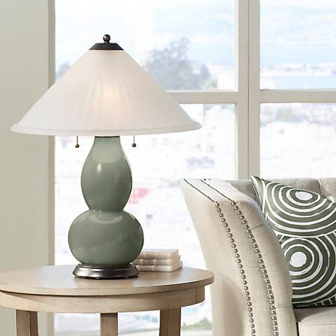 Deep Lichen Green Fulton Table Lamp with Fluted Glass Shade