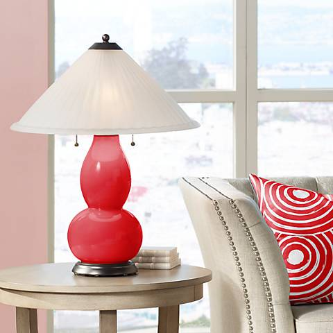 Bright Red Fulton Table Lamp with Fluted Glass Shade