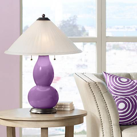 Passionate Purple Fulton Table Lamp with Fluted Glass Shade