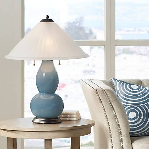 Smoky Blue Fulton Table Lamp with Fluted Glass Shade