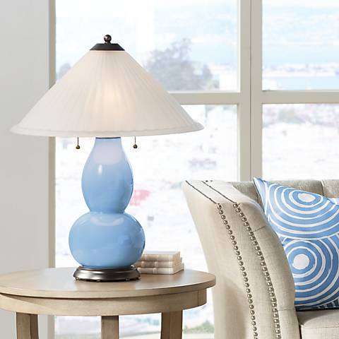 Placid Blue Fulton Table Lamp with Fluted Glass Shade