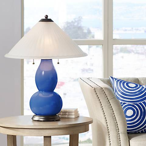 Dazzling Blue Fulton Table Lamp with Fluted Glass Shade