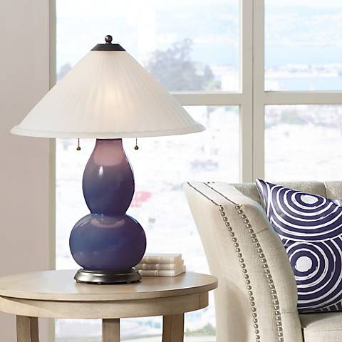 Quixotic Plum Fulton Table Lamp with Fluted Glass Shade