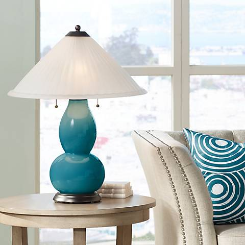 Caribbean Sea Fulton Table Lamp with Fluted Glass Shade
