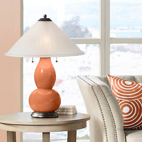 Robust Orange Fulton Table Lamp with Fluted Glass Shade