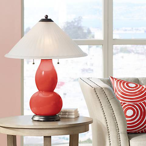 Cherry Tomato Fulton Table Lamp with Fluted Glass Shade