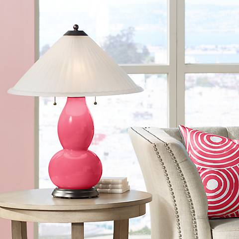 Eros Pink Fulton Table Lamp with Fluted Glass Shade