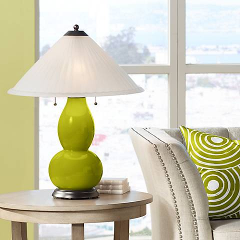Olive Green Fulton Table Lamp with Fluted Glass Shade