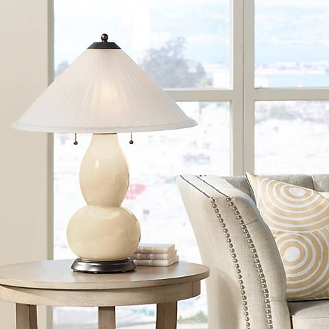 Colonial Tan Fulton Table Lamp with Fluted Glass Shade
