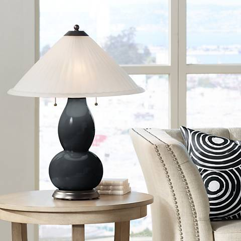 Black of Night Fulton Table Lamp with Fluted Glass Shade