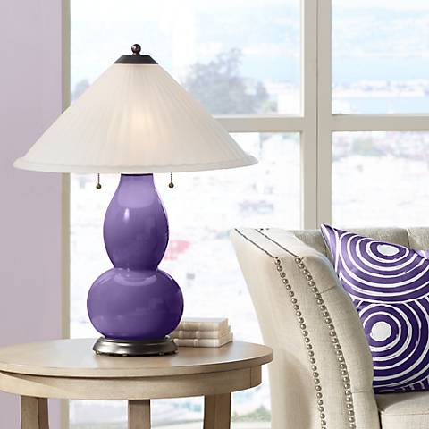 Izmir Purple Fulton Table Lamp with Fluted Glass Shade