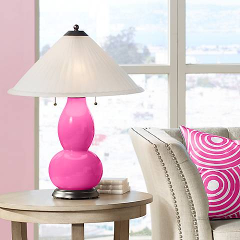 Fuchsia Fulton Table Lamp with Fluted Glass Shade