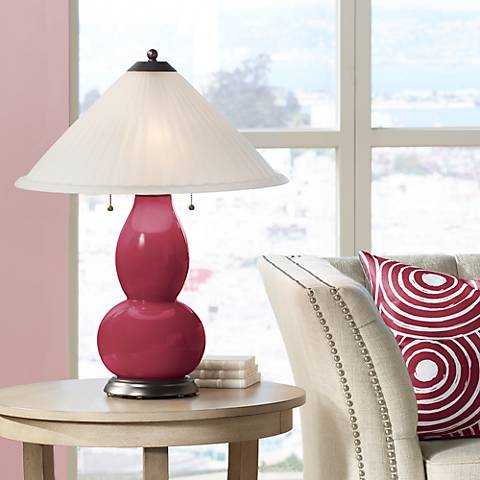 Antique Red Fulton Table Lamp with Fluted Glass Shade