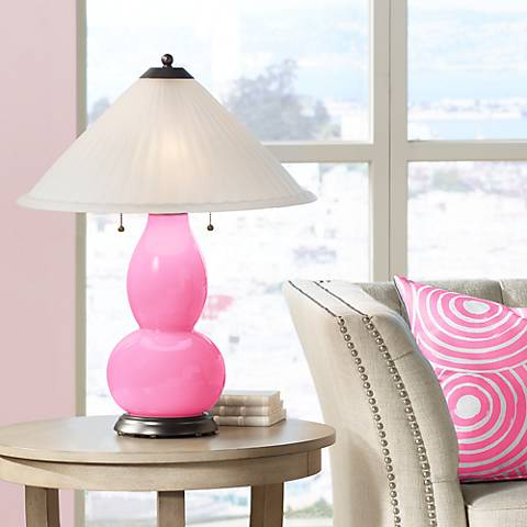 Pale Pink Fulton Table Lamp with Fluted Glass Shade