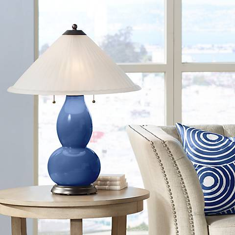 Monaco Blue Fulton Table Lamp with Fluted Glass Shade