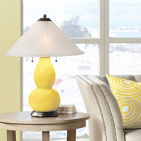 Lemon Zest Fulton Table Lamp with Fluted Glass Shade
