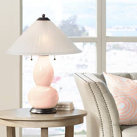 Linen Fulton Table Lamp with Fluted Glass Shade