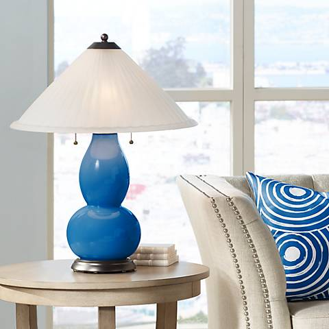 Hyper Blue Fulton Table Lamp with Fluted Glass Shade
