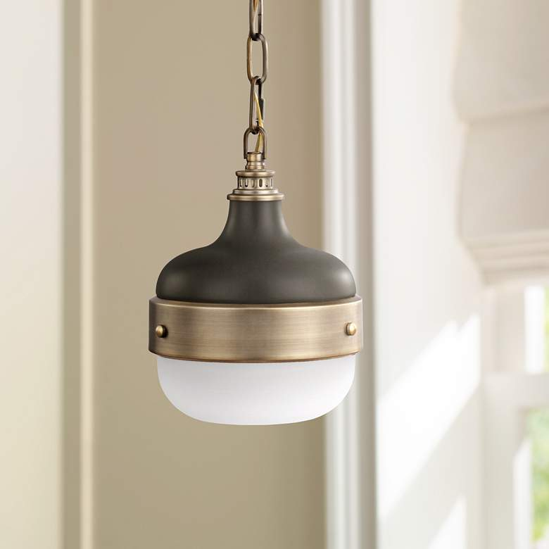 "Feiss Cadence 8"" Wide Antique Brass Mini Pendant"