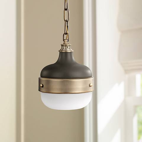 "Feiss Cadence 8"" Wide Antique Brass Mini Pendant Light"