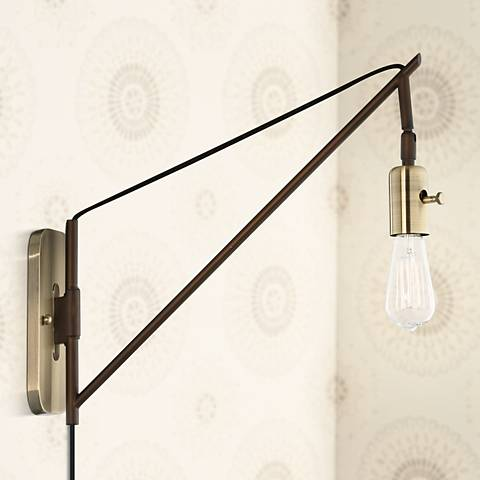 "Hobson Bronze and Antique Brass 17"" High Wall Sconce"