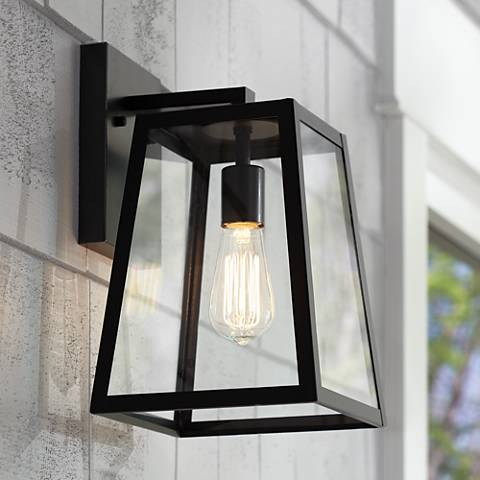 "Arrington 13"" High Glass and Mystic Black Outdoor Wall Light"